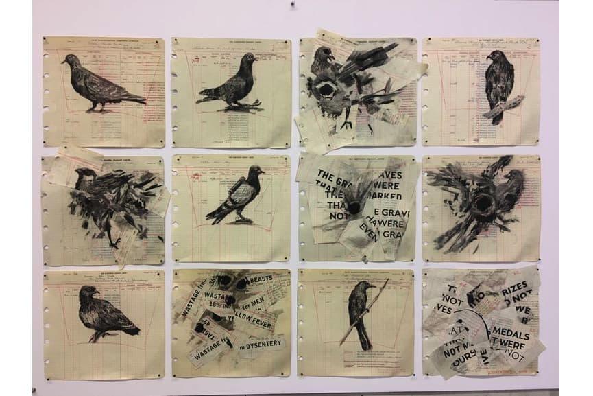 William Kentridge - Drawing for The Head _ the Load (Twelve Birds), 2018