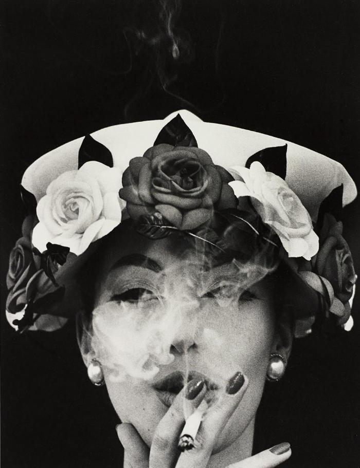 William Klein-Hat + 5 Roses, Paris (Vogue)-1956