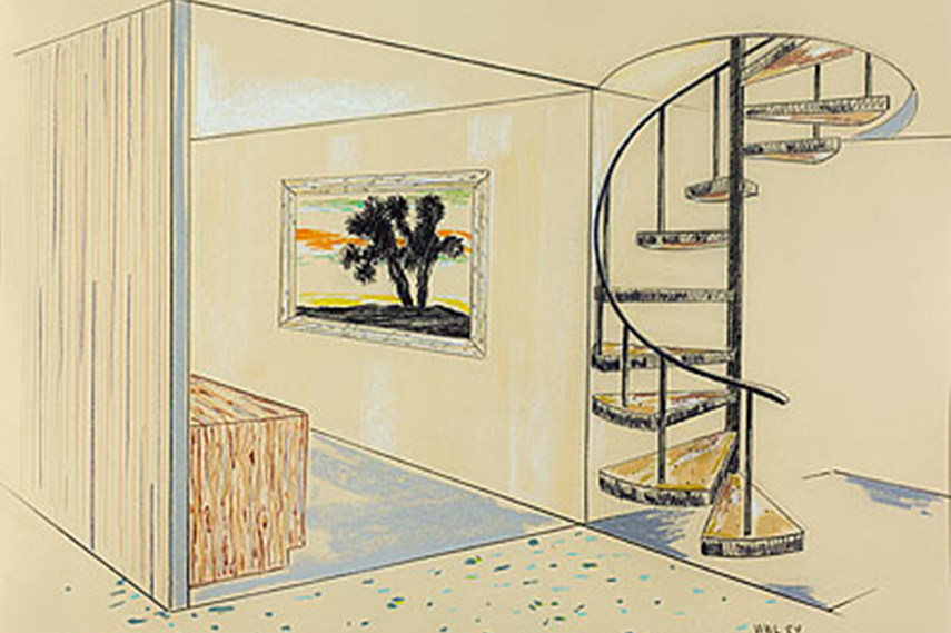 William Leavitt - Interior with Cactus Painting and Spiral, 1984