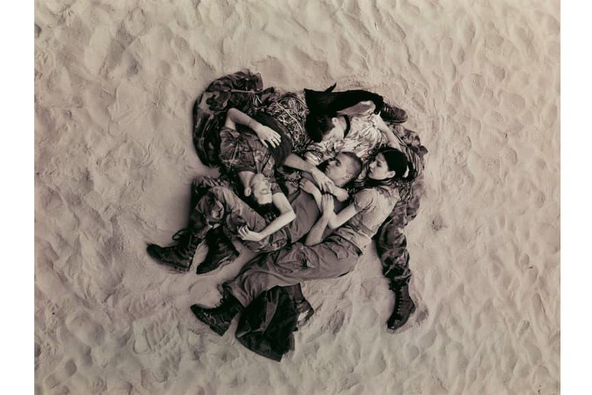 Lutz, Alex, Suzanne & Christoph on beach (b:w), 1993