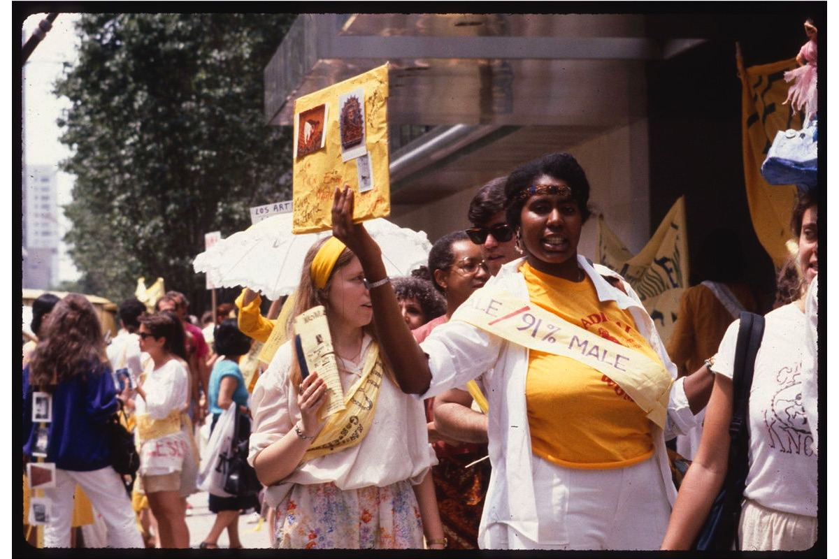 Women artists and supporters protesting outside MoMA in 1984 © Clarissa Sligh
