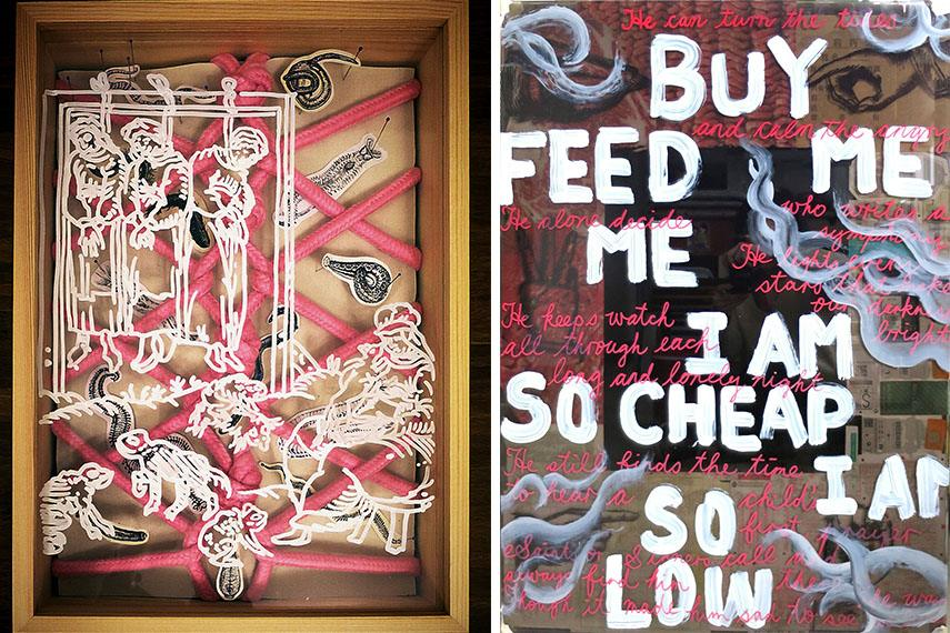 Wong Ka Ying - Whip, Cuffs, Bondage, Mask & Gag (Left) / Buy Feed Me I Am So Cheap I Am So Low (Right)