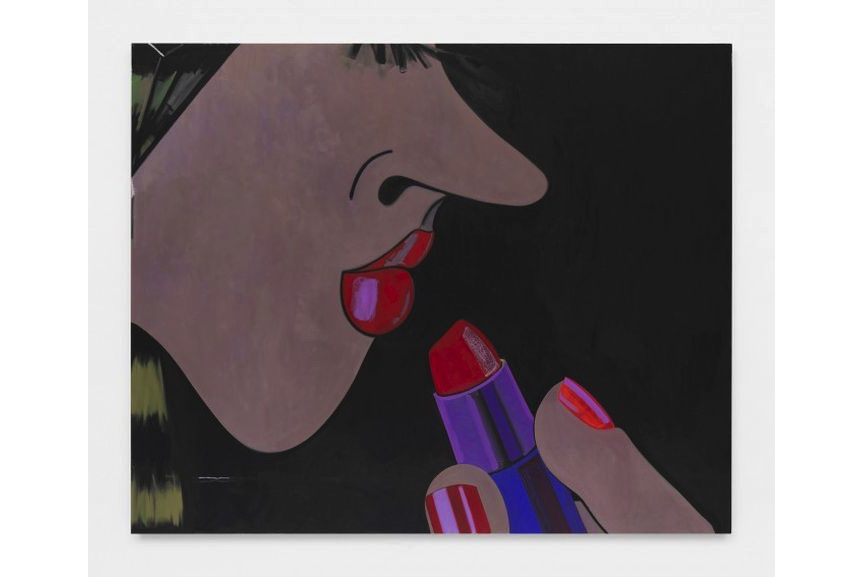 Work by Ellen Berkenblit, on view at Jeffrey Deitch Gallery