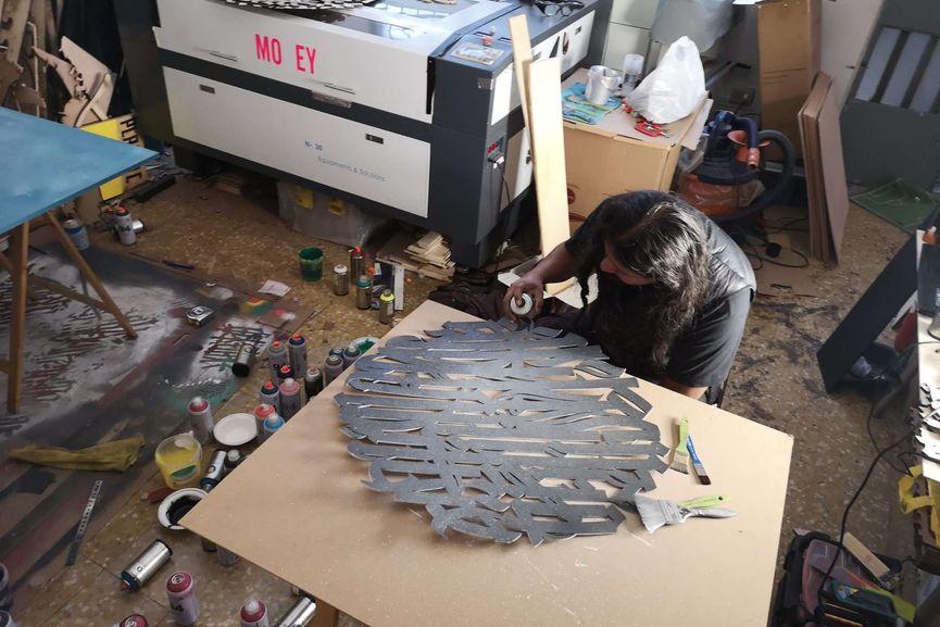 Work in progress PALIMPSESTOS by Said Dokins and Biokip Atelier