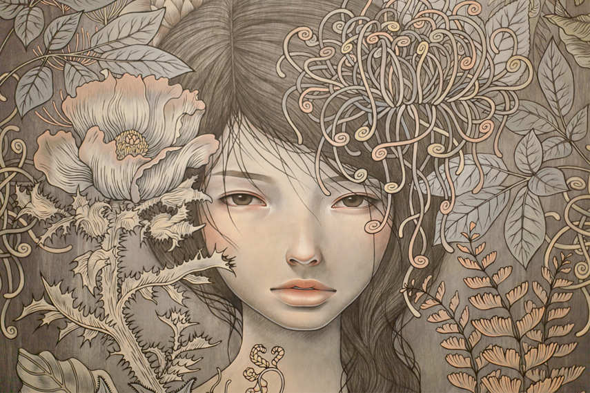 Work of one of the artists represented at the show Turn the Page- The First Ten Years of Hi-Fructose; Audrey Kawasaki - Restlessly Still - Image via Superslice com