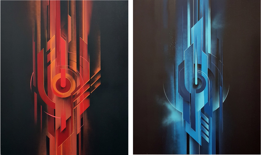 Xavier Magaldi - The Big Guardian, 2017, Jardin Orange (Left) - The Guardian Blue, 2017, Jardin Orange (Right)