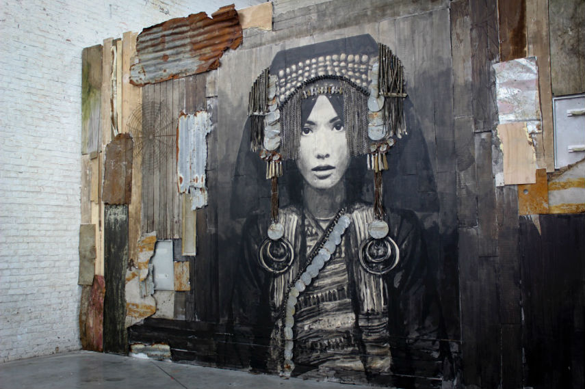 A mixed media by XY called Empress Akha exhibited in Paris
