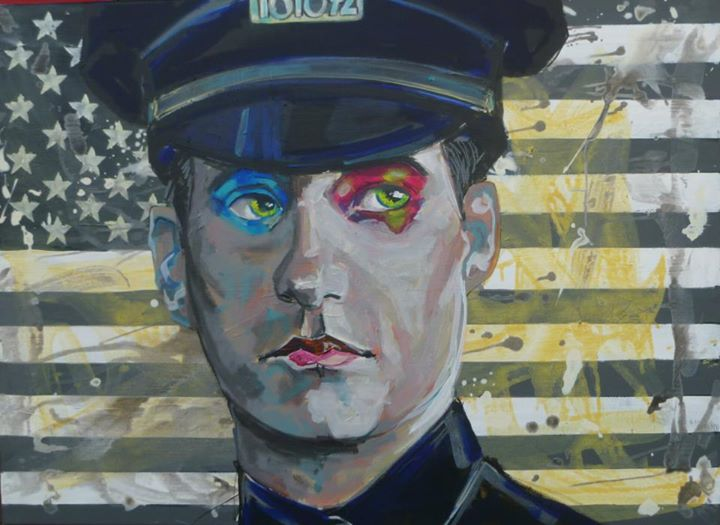 "Yannick Fournié Artwork - American Cops are Famous, 85 x 100 cm, 2012 - Series ""Cops Are """