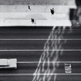 Yasuhiro Ishimoto-Street Scene From Above Showing Car And Turn Only Sign-1948
