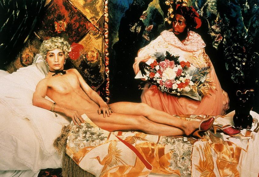 Other artists referenced Edouard Manet Olympia like Yasumasa Morimura in Portrait Futago