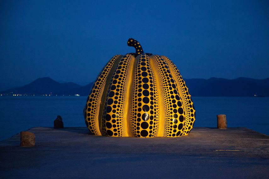 Yayoi Kusama's Yellow Pumpkin in Naoshima; arts image from 2017