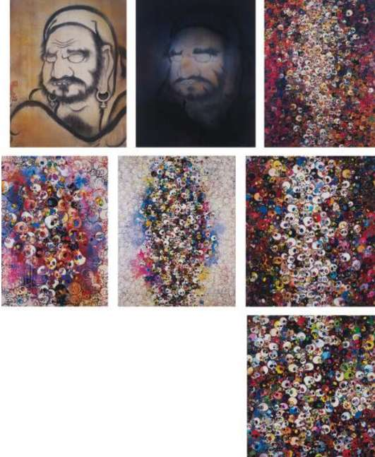 Takashi Murakami-Yo, Hakuin; Mirroring Your Image: Take A Bow, Hakuin; I Know Not. I Know; I've Left My Love Far Behind, Their Smell, Every Memento...; Who's Afraid of Red, Yellow, Blue & Death; I Do Not Rule My Dreams. My Dreams Rule Me.; There Are Little People Inside Me-2011