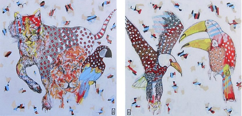 Yosi Messiah - Gazing Tiger (left) Flying High As You Can (right) 2014