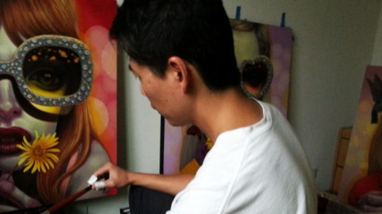 Young Chun in his studio