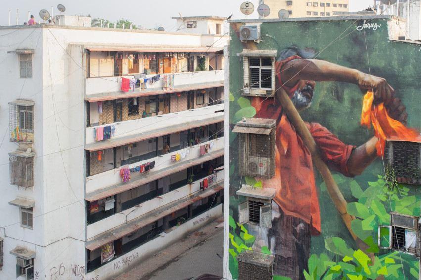 Young Jarus - Mural in Dharavi