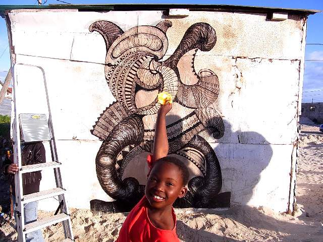 Yuma Yoshimura's mural at Khayelitsha, Cape Town, 2011