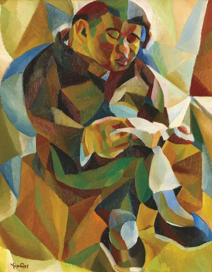 Yun Gee-Seated Man Reading-1927