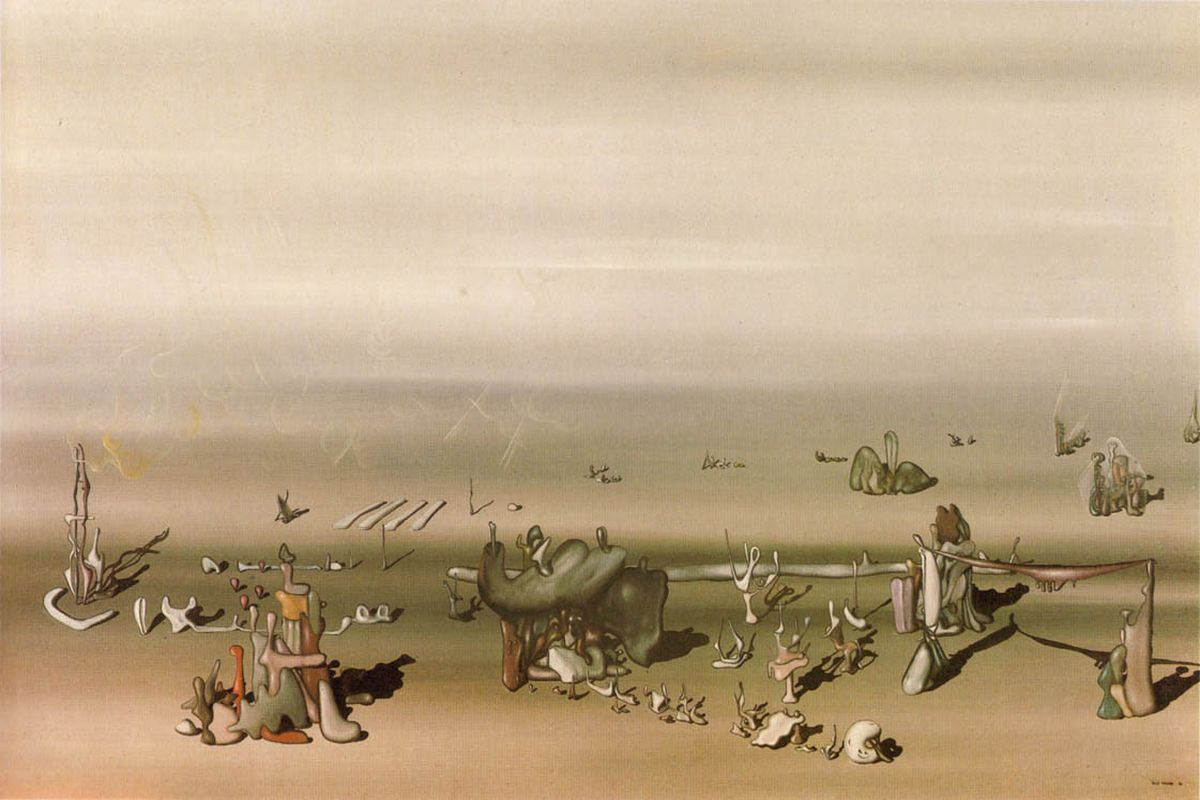 surrealism painting of modern art that includes several objects