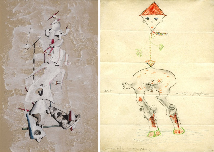 Yves Tanguy - La Grue des Sables,1946, Gouache on paper, 47.2 x 31.8 cm, Photo A.J Photographics / Yves Tanguy - André Masson and others, Cadavre Exquis, 1925, Pencil and coloured pencil on paper, 27.7 x 21 cm