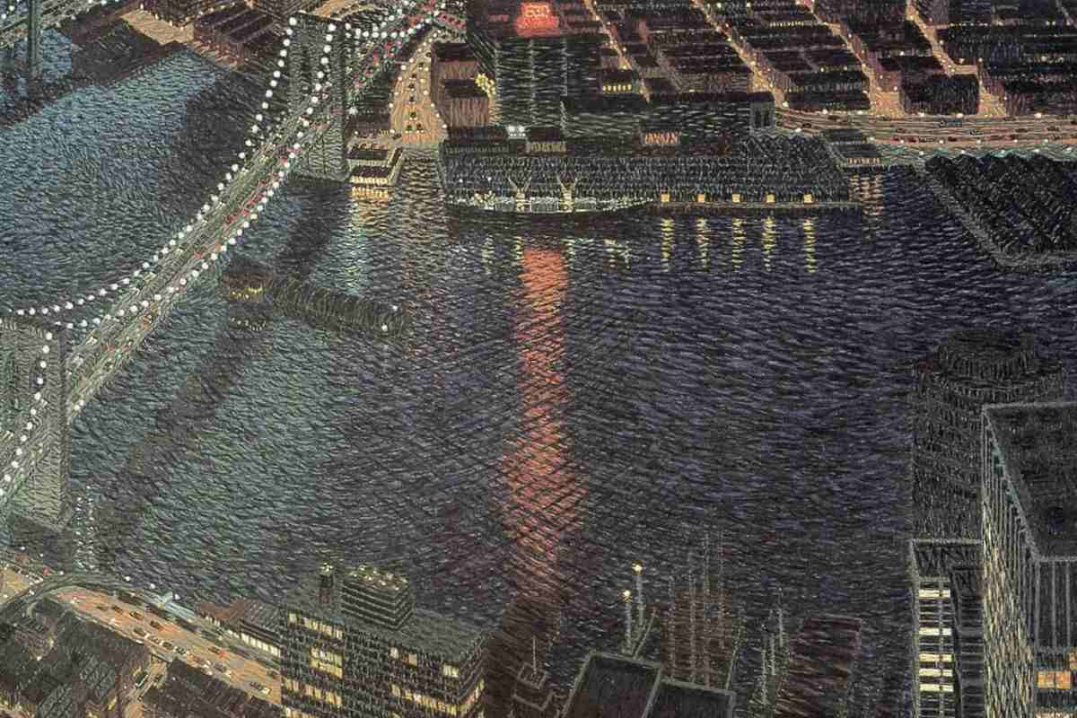 Yvonne Jacquette - East River with Brooklyn Bridge, detail (courtesy of theartroomonline.net