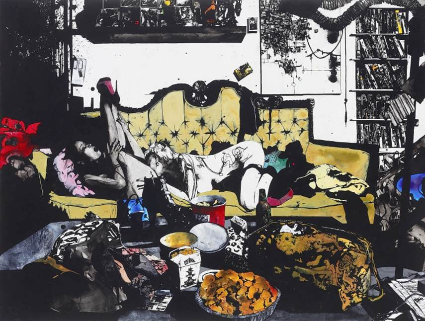 Zak Smith - Mandy and Skin Diamond with Some Chinese Food, 2013 gallery time house things