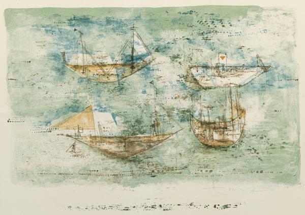 Zao Wou-Ki-Voiles A La Mer (Sailing-Ships At Sea)-1953