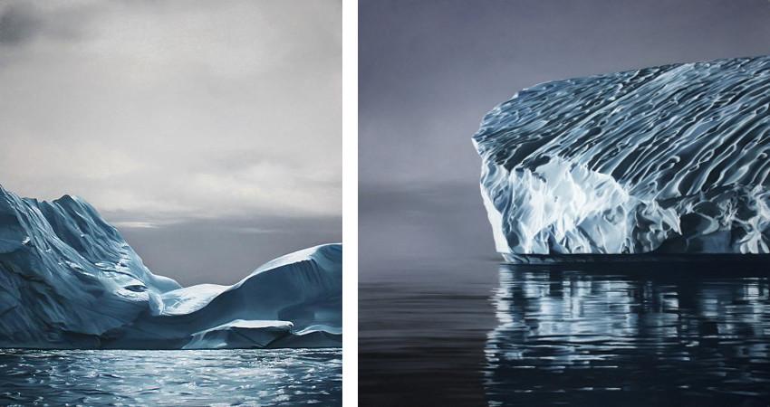 Zaria Forman - Greenland no.67 - 2014 (Left) / Greenland no.70 - 2014 (Right) - gallery