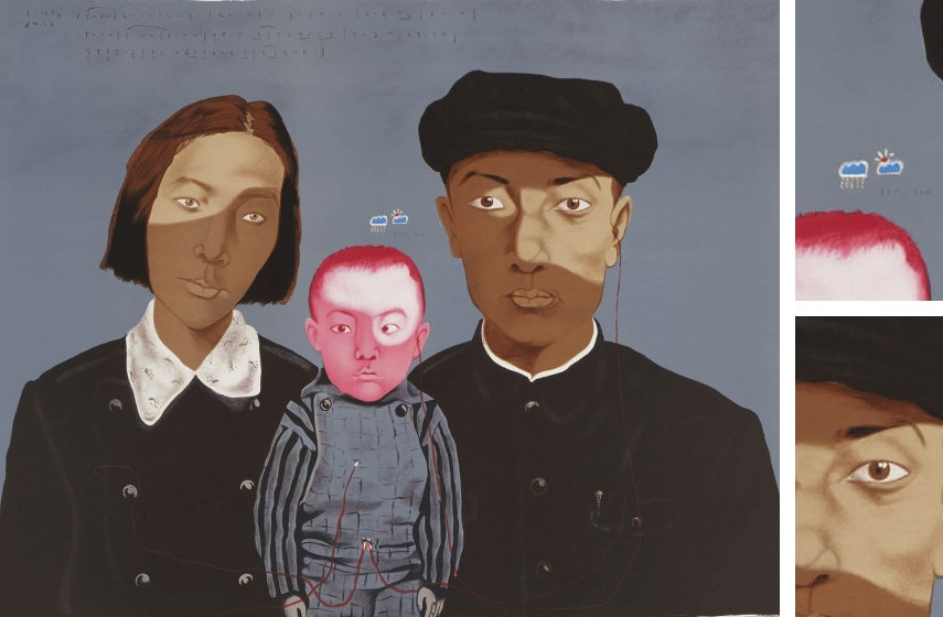 Zhang Xiaogang - Bloodline - Big Family (left), Details (top right and top bottom), 2009