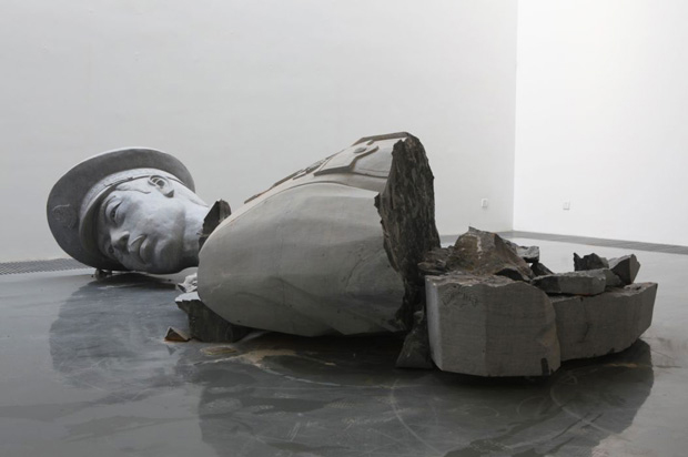 Installation view of a broken officer sculpture by Zhao Zhao at Chambers Fine Art in New York 2011