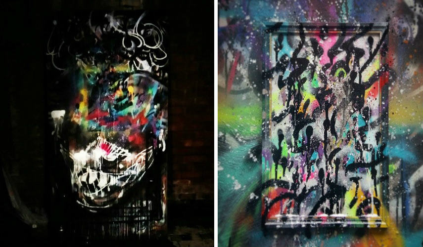 Zokatos - Portrait Evolution (left) - Painting on A4 Paper Framed Freestyle (right)