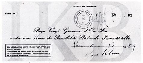 A cheque used to certify the purchase of a Zone de Sensibilité Picturale Immatérielle (zone of immaterial pictorial sensibility)