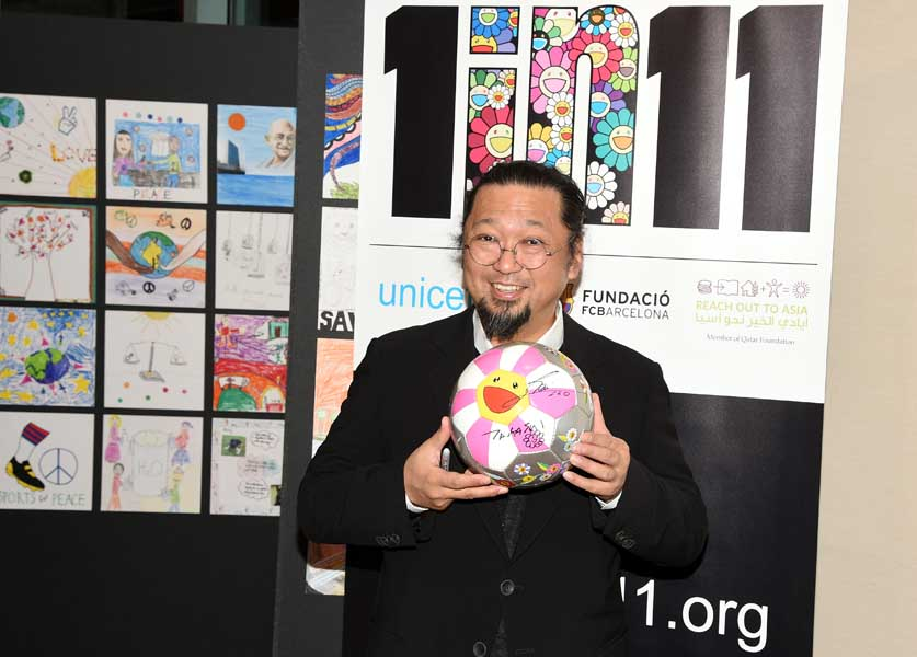 Artist Takashi Murakami supports the launch of '1 in 11', a partnership between FC Barcelona Foundation, UNICEF and Reach out to Asia to help children to fulfil their potential through sport and education at Danny Kaye Vistors Centre on January 9, 2015 in New York City. (Photo by Andrew H. Walker/Getty Images for Qatar Museums)