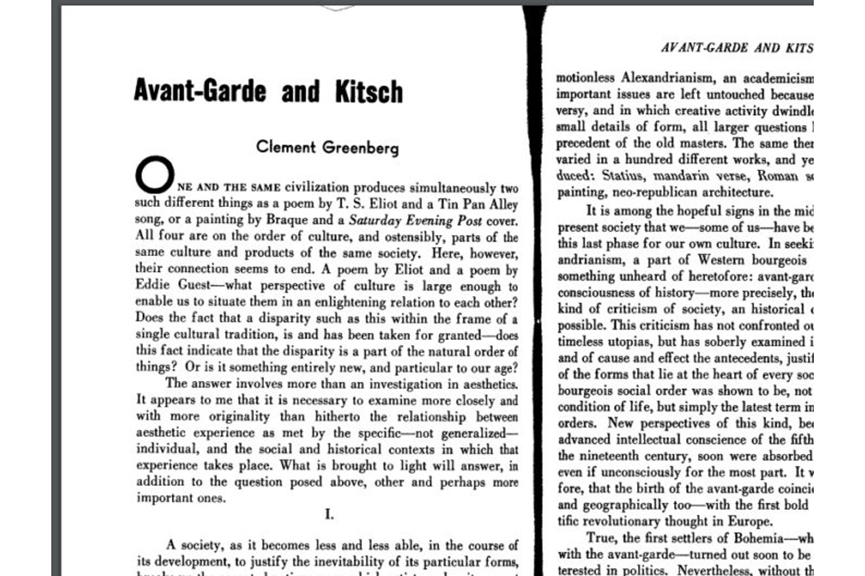 Avant-Garde and Kitsch by Clement Greenberg