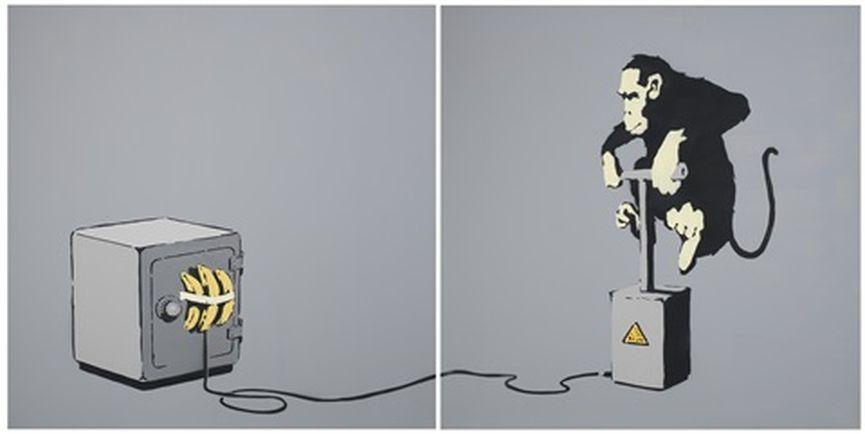 Banksy - Monkey Detonator (diptych)