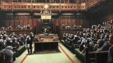 Banksy, detail of Devolved Parliament