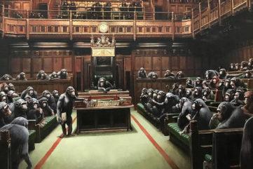 Banksy, detail of Devolved Parliament