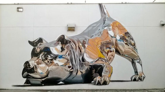 Chrome Dog Mural by Bik Ismo at Art Basel Miami