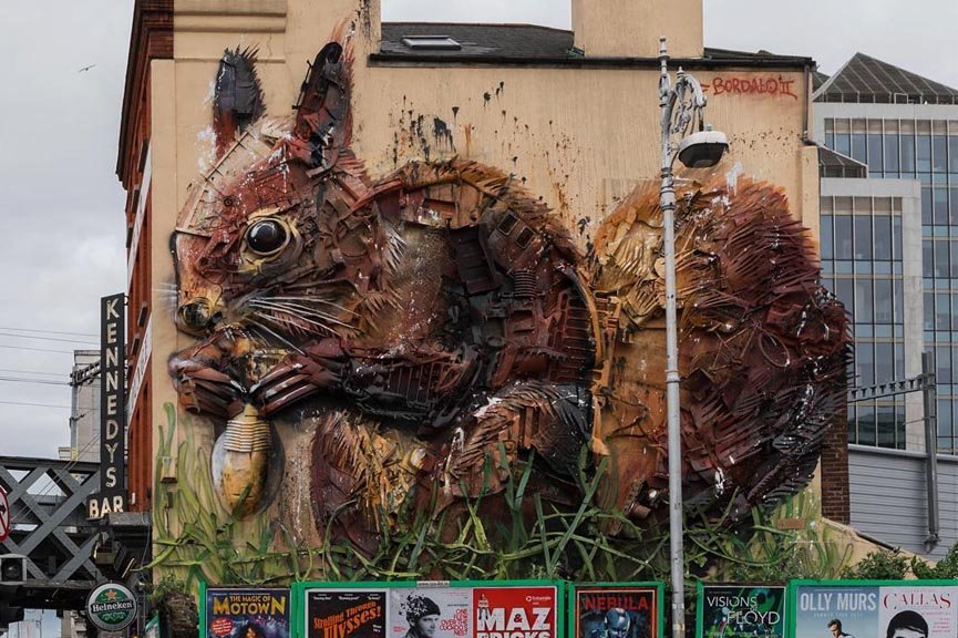 New trash installation by bordalo II