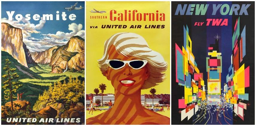 Joseph Feher-Yosemite United Air Lines, 1950; Stan Galli-Southern California United Air Lines,1955; david klein-New York Fly TWA, 1956