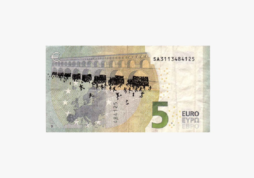euro banknote bombing – 5 euro banknote with ink