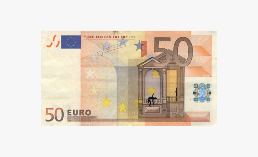 Euro banknote bombing – 50 euro banknote with ink