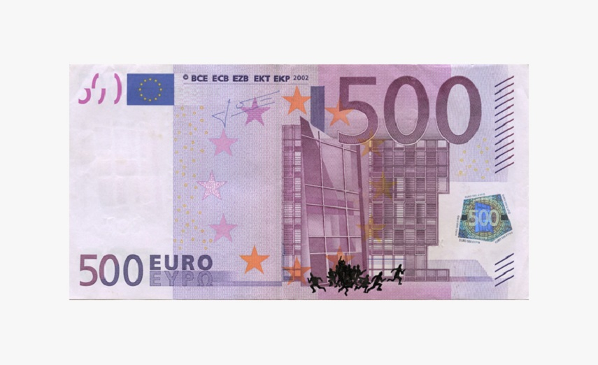 euro banknote bombing – 500 euro banknote with ink