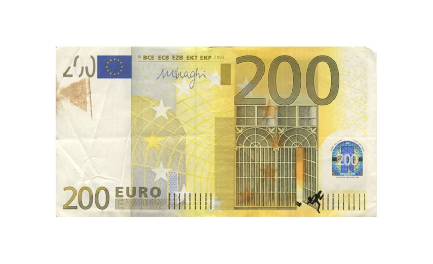 Euro banknote bombing – 200 euro banknote with ink