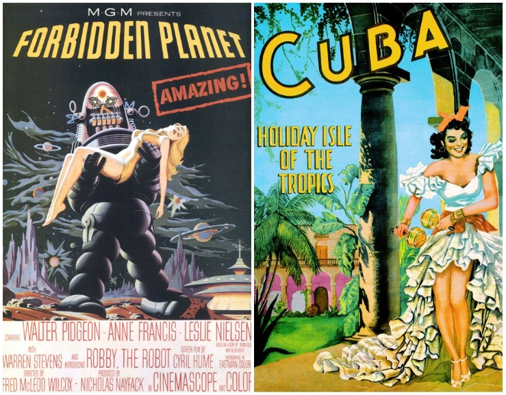 MGM studios - Forbidden planet 1956; Advertising Travel Poster for Cuba, 1954