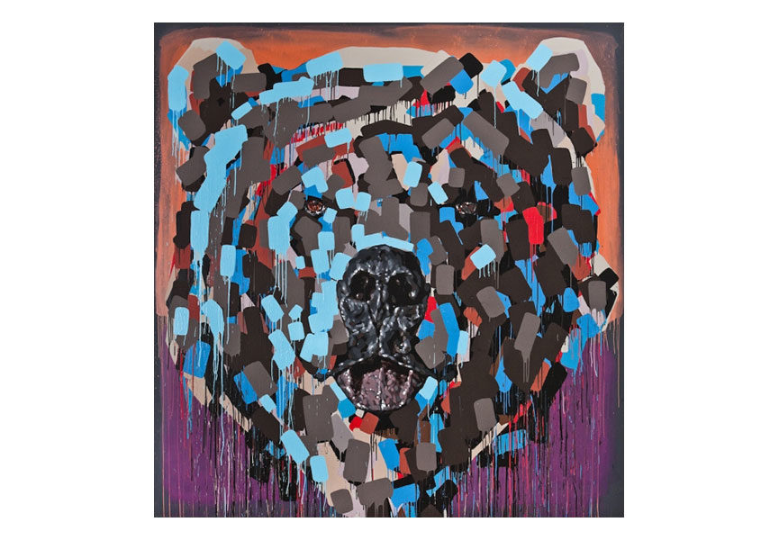 Graffiti grizzly bear