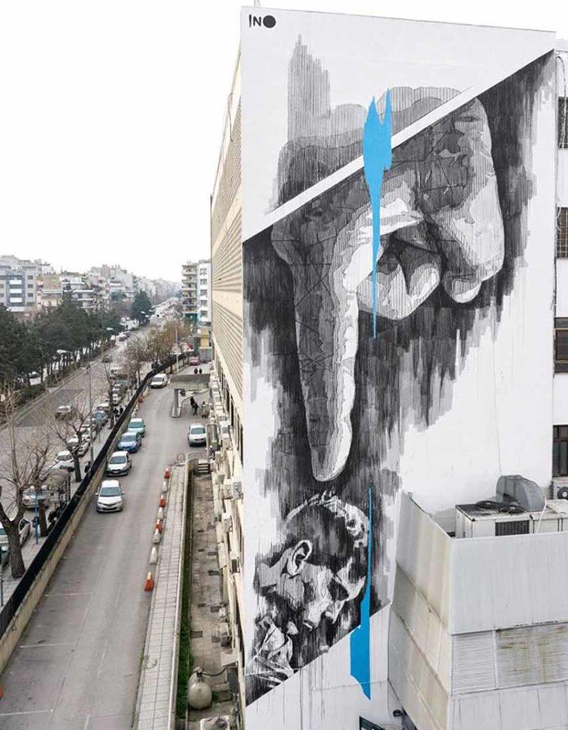 Ino mural in Thessaloniki