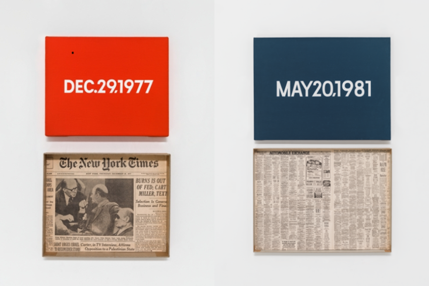 "Left: On Kawara, DEC. 29, 1977, ""Thursday."" New York, From Today, 1966–2013, Acrylic on canvas. Pictured with artist-made cardboard storage boxes.. Private collection. Photo: Courtesy David Zwirner, New York, London / Right:On Kawara, MAY 20, 1981, ""Wednesday."" New York, From Today, 1966–2013, Acrylic on canvas. Pictured with artist-made cardboard storage boxes. Private collection. Photo: Courtesy David Zwirner, New York,London"