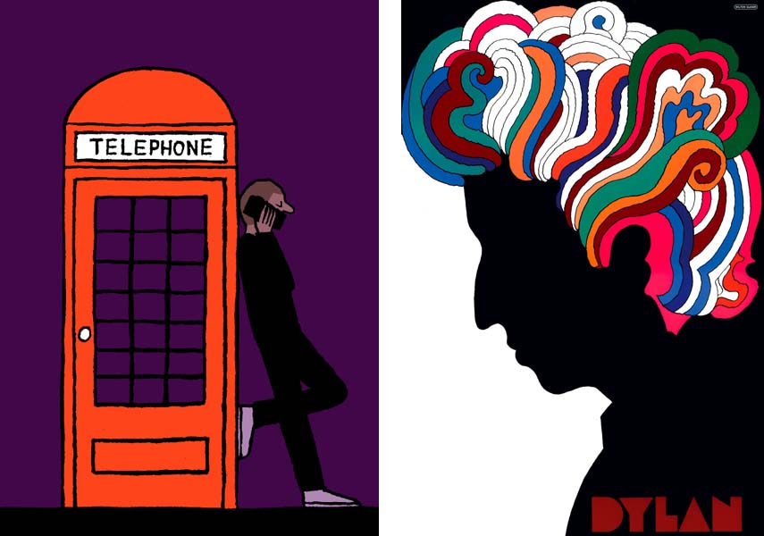 left: Jean Jullien - Phone, 2014, right: Milton Glaser - Dylan, 1966