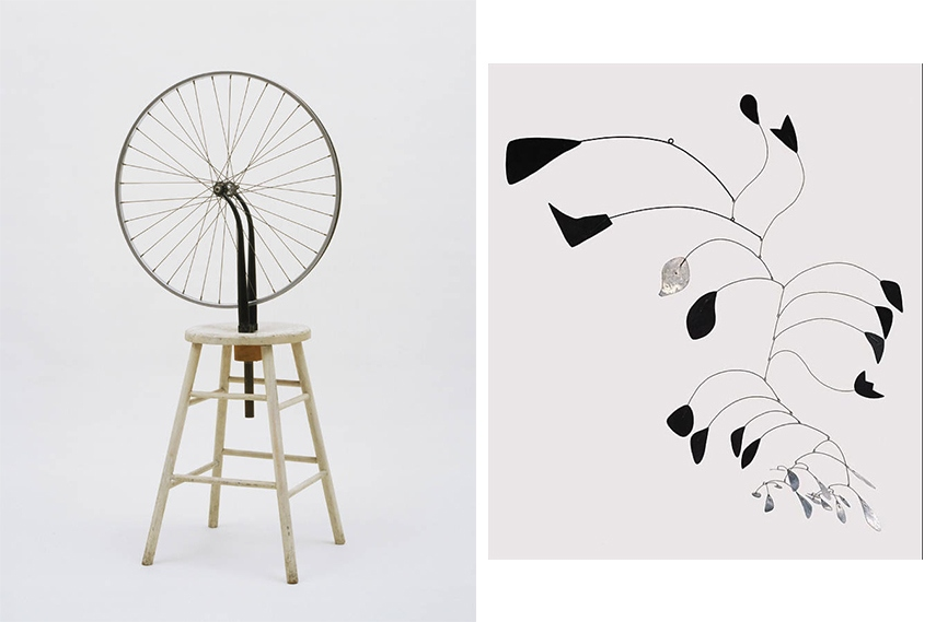 Left: Marcel Duchamp - Bicycle Wheel, 1913 - sold for 1.6 million dollars at an auction in 2002 / Arc of Petal