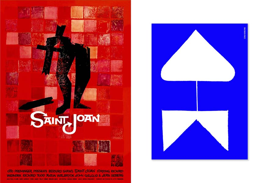left Saint Joann-Saul Bass, 1957, right Sanderson Bob, 2014